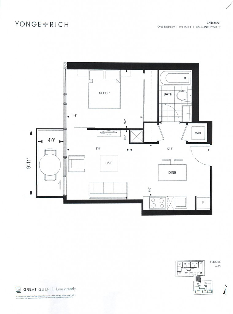 The Chestnut 494 Sq. Ft. + Balcony: 39 Sq. Ft.