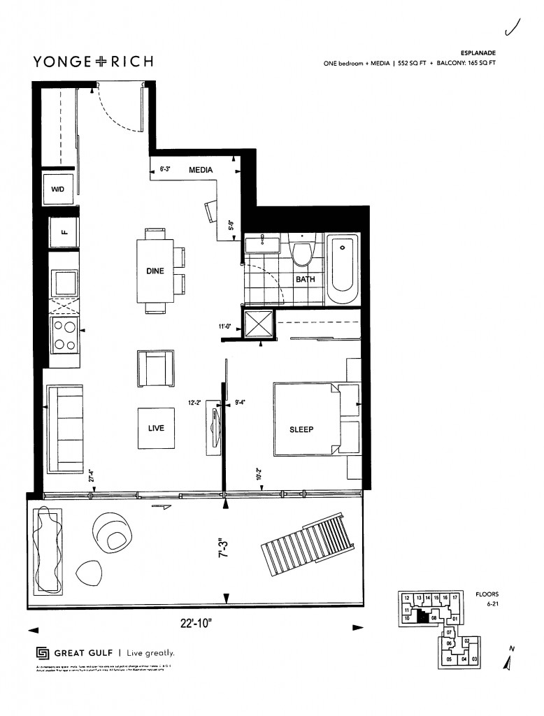 The Esplanade 552 Sq. Ft. + Balcony: 165 Sq. Ft.
